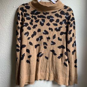 Cheetah Print Cowl Neck Sweater